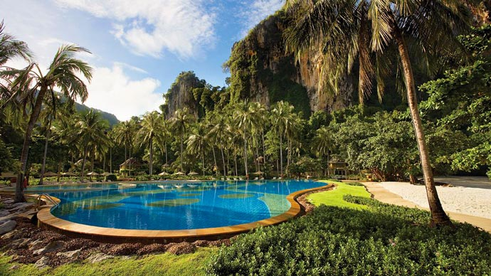 Outdoor swimming pool at Rayavadee Resort in Krabi Thailand