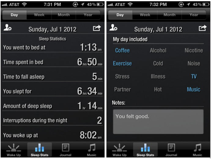 Mobile application of the Renew SleepClock Sleep Monitor by GEAR4