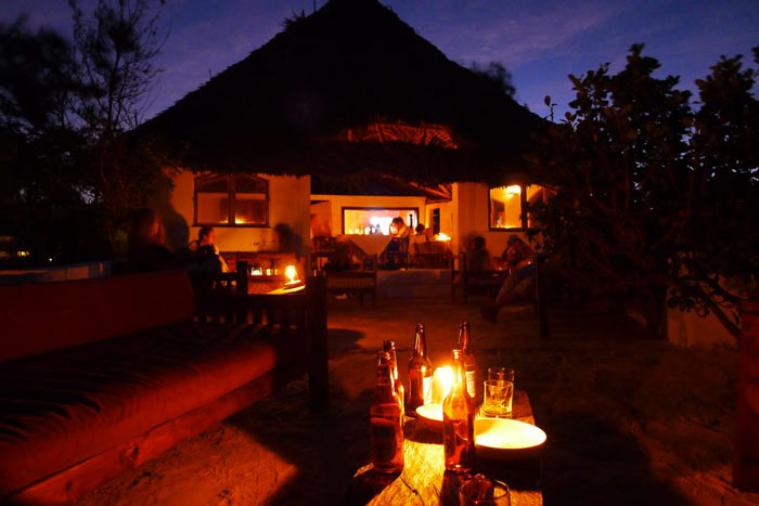 The Rock Restaurant in Zanzibar during the night
