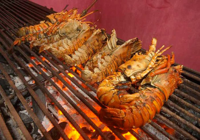 Shrimps being cooked at The Rock Restaurant in Zanzibar