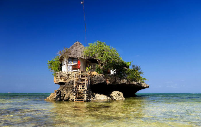 Exterior design of The Rock Restaurant in Zanzibar, East Africa