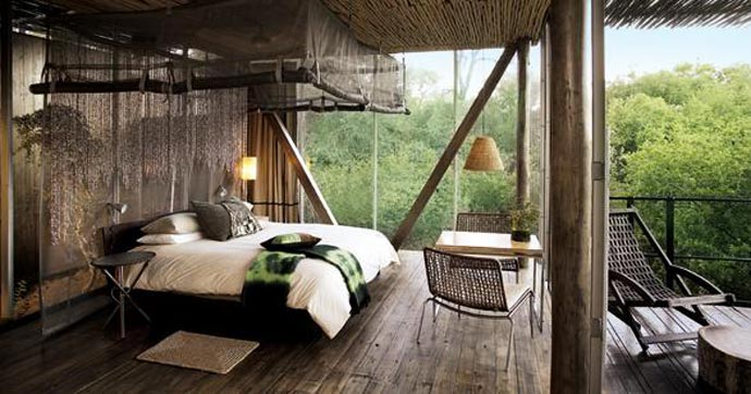 Bedroom interior design at Singita Sweni Lodge in South Africa