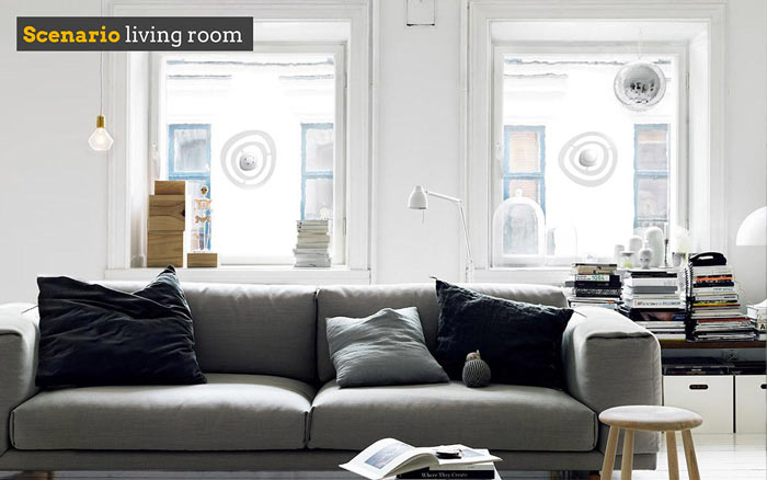 Sono Advanced Window Noise Cancelling System installed in a living room of an apartment