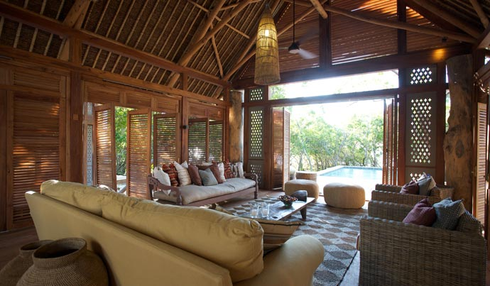 Inside a wooden lodge at Vamizi Island