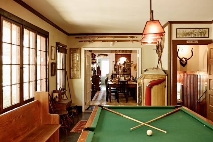 Pool table in a vintage room