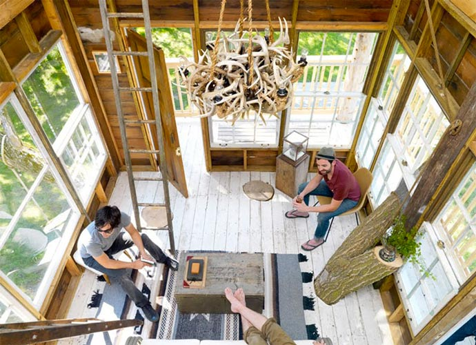 Interior design of a treehouse at Wandawega Lake Resort in Wisconsin