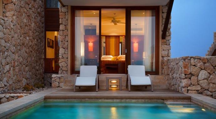 Lounge chairs near the pool