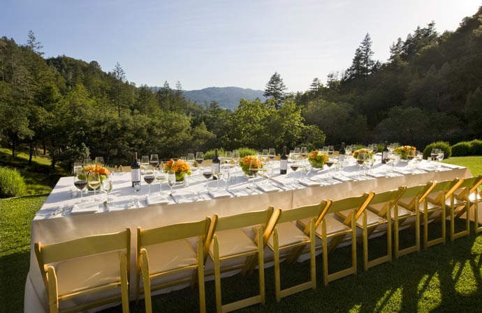 Outdoor dining table at Calistoga Ranch in Napa Valley