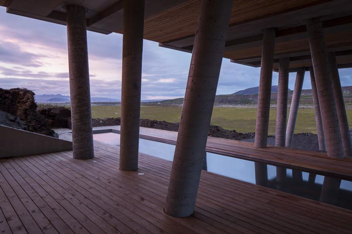 Outdoor swimming pool at the Ion Hotel in Iceland