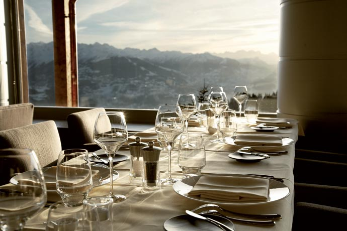 Restaurant with a view at LeCrans Hotel & Spa