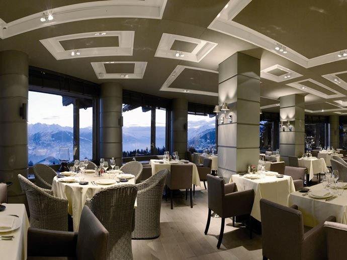 Restaurant at LeCrans Hotel & Spa in Switzerland
