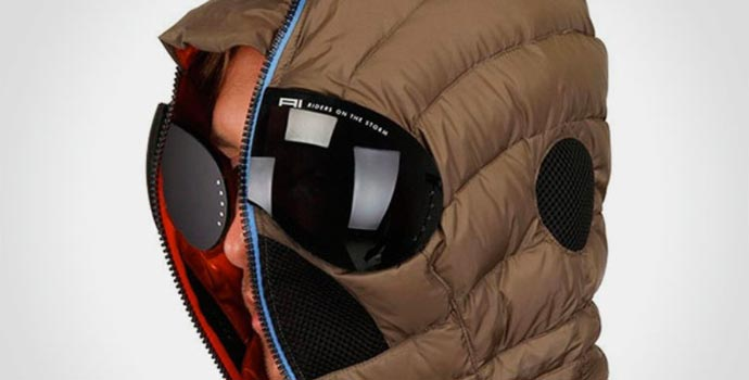 Matt Nylon Hooded Jacket with built-in Goggles 1