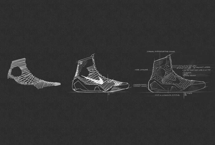 Drawings of the Nike Kobe 9 Elite Basketball Shoes