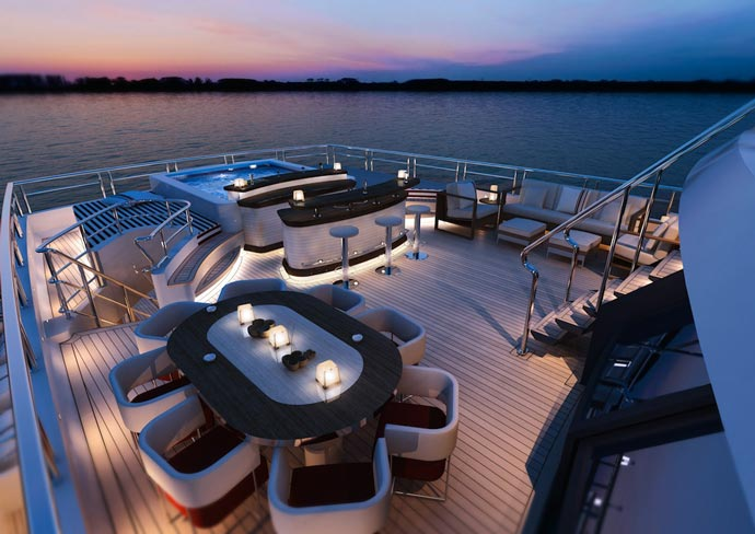 Deck of the Red Square Superyacht