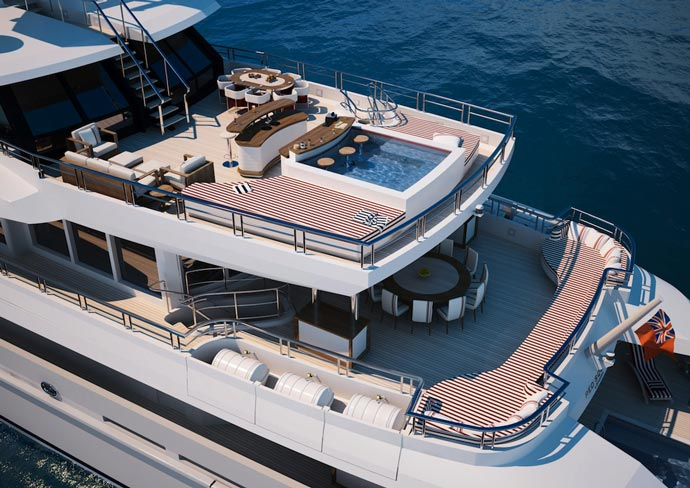 Top decks of the Red Square Superyacht