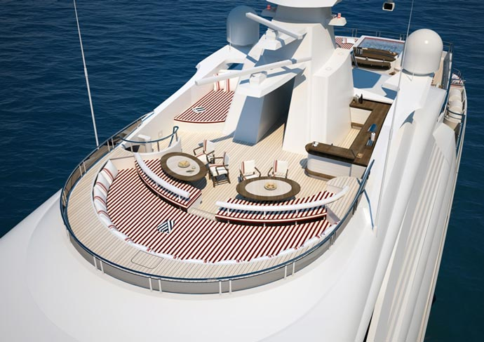 Top deck of the Red Square Superyacht