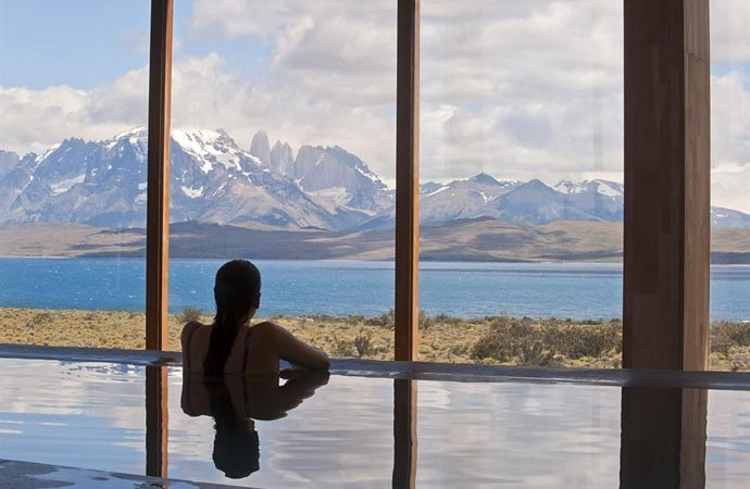 View of the Patagonian mountains from the spa at Tierra Atacama