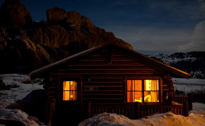 Brush Creek Lodge at night