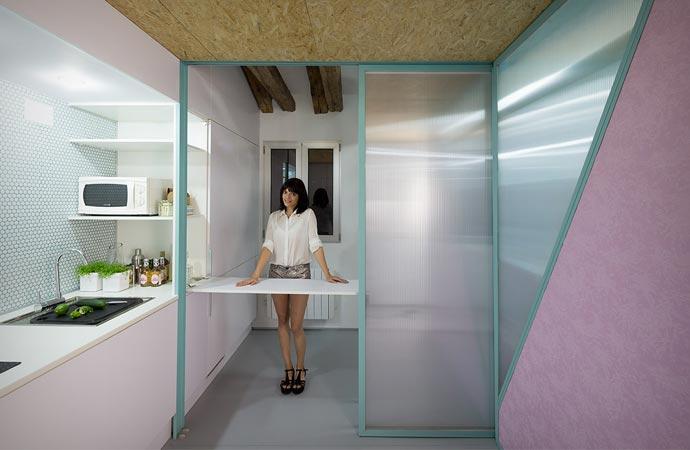 Kitchen in an attic apartment