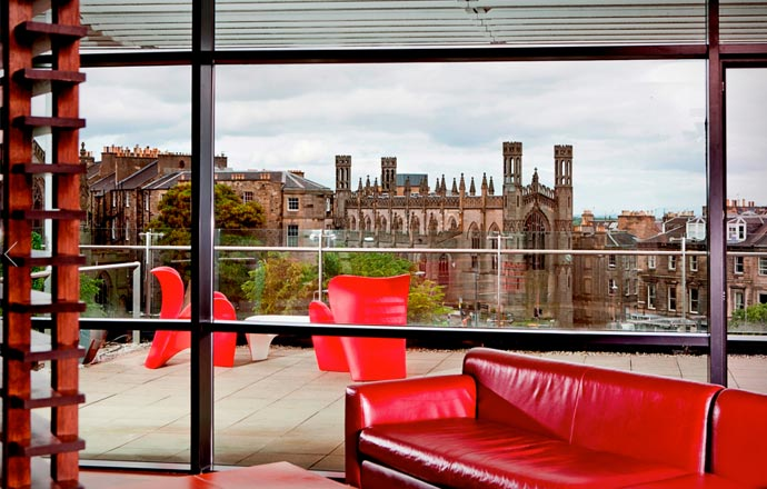 Rooftop lounge at Glasshouse Hotel in Edinburgh
