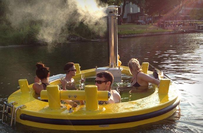 Yellow Hot Tub Boat