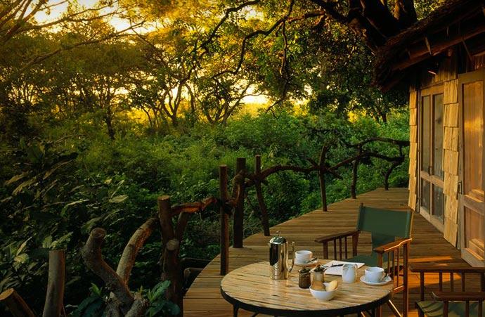 Outdoor patio at Lake Manyara Tree Lodge