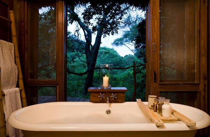 Bathroom with a view at Lake Manyara Tree Lodge