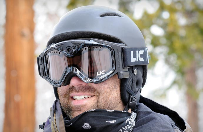 Men wearing the Liquid Image Snow Goggles equipped with an HD camera