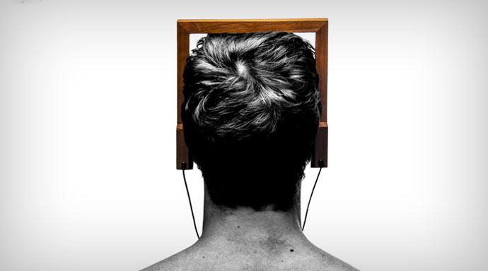 Square wood headphones