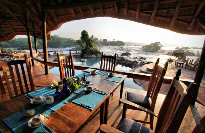 Outdoor terrace at Wildwaters Lodge in Uganda