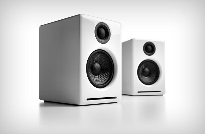 White desktop speakers