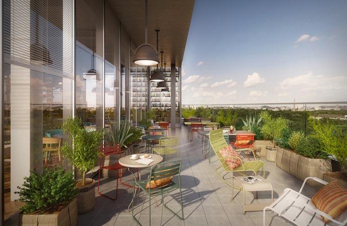 Rooftop terrace lounge at Bikini Berlin 25Hours Hotel
