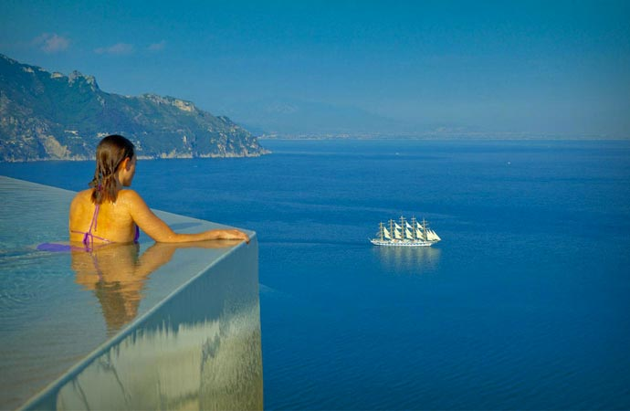 Infinity pool at a hotel in Amalfi Coast