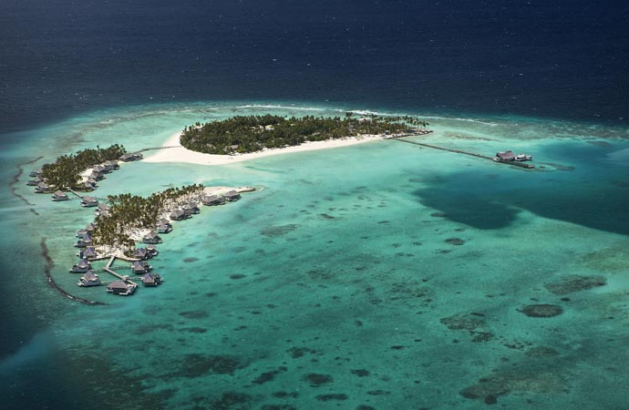 Aerial view of Cheval Blanc in the Maldives