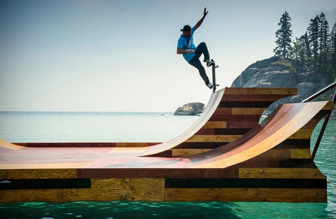 Floating skateboard ramp made out of wood