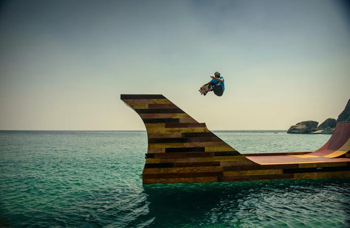 Skateboard ramp made of wood