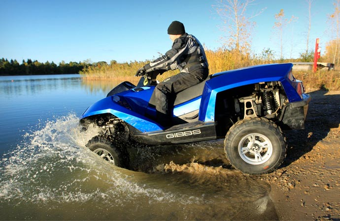 Amphibious ATV entering the water