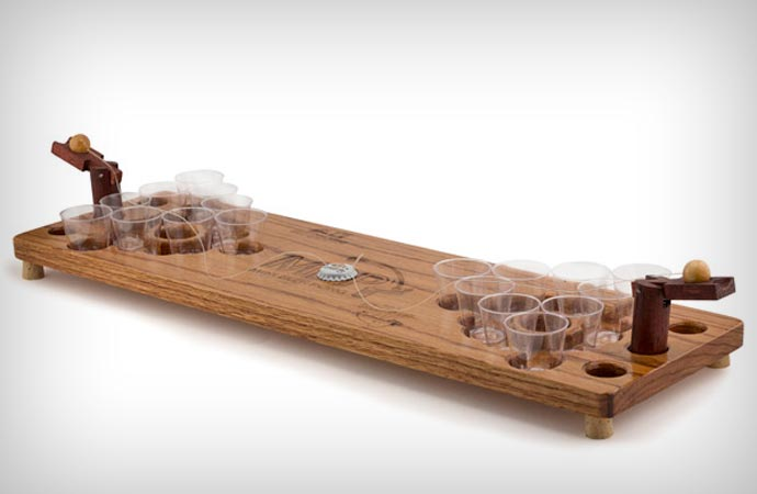 Mini beer pong table made of wood