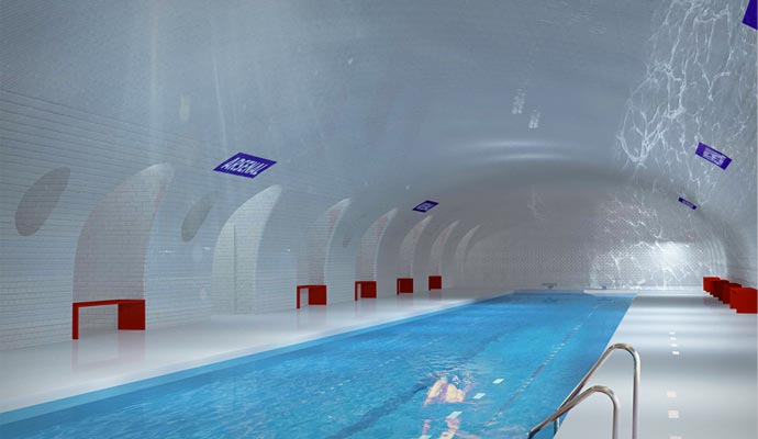 Swimming pool in a Paris metro station