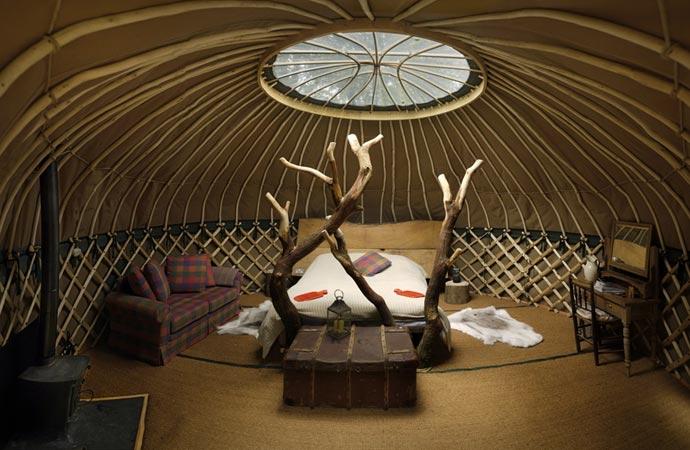 Interior design of a tipi style cabin