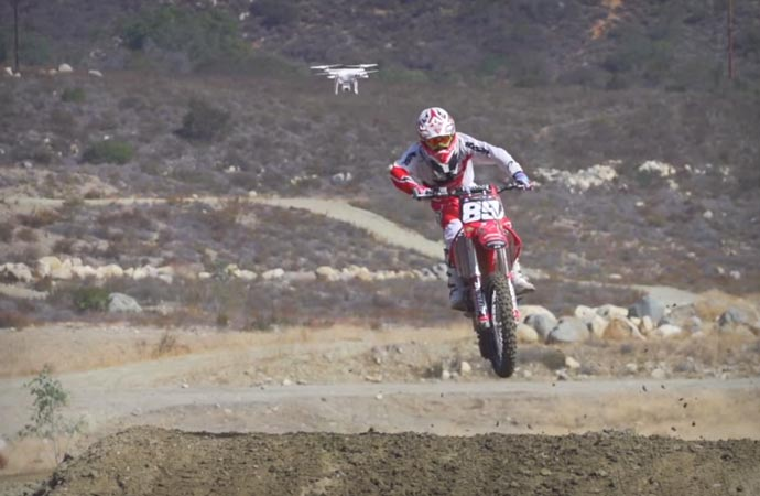 DJI Phantom 2 Vision quadcopter during dirt biking