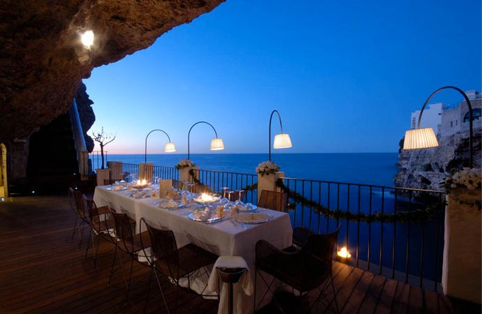 Dining at Grotta Palazzese restaurant