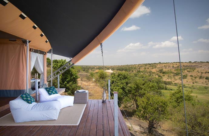 Terrace with a view of the safari at Mahali Mzuri safari camp