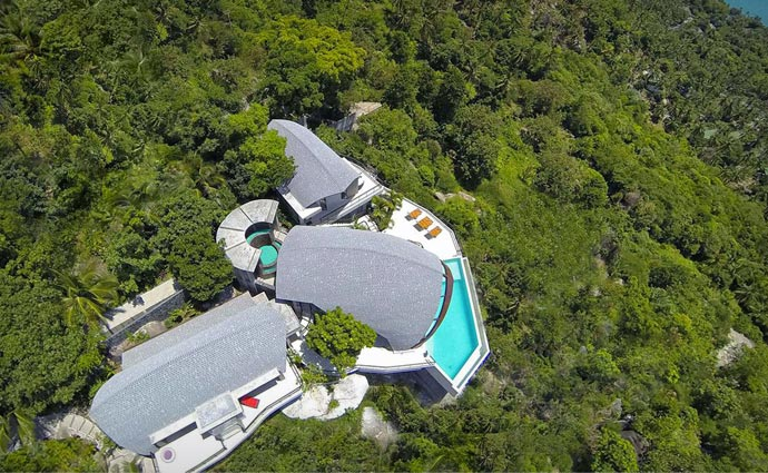 Aerial view of Moon Shadow Villa in Thailand