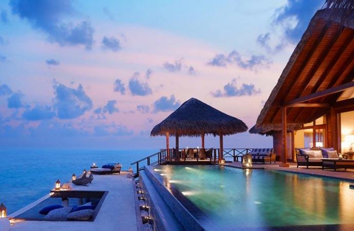 Ocean bungalows at Taj Exotica Resort
