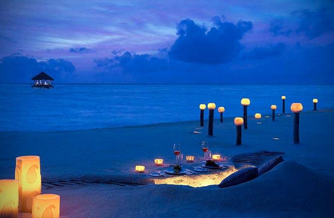 Beach lights at Taj Exotica