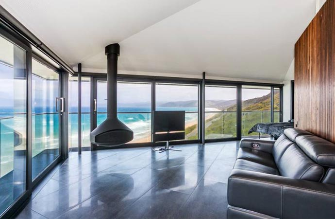 Indoor fireplace in a cliff house in Australia