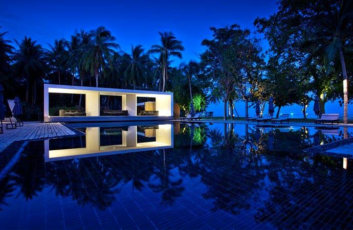 Pool at night at X2 Samui