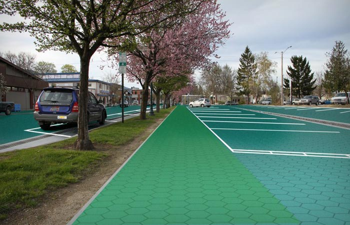 Parking lot equipped with solar roadways