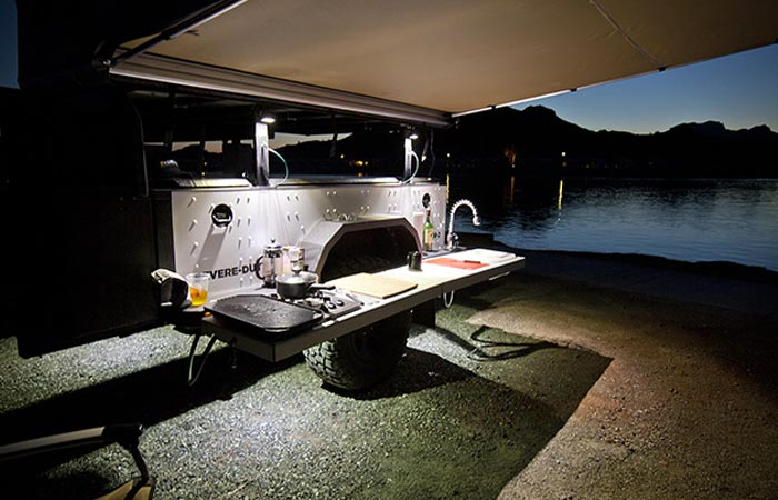 Xventure off road trailer table and tarp feature